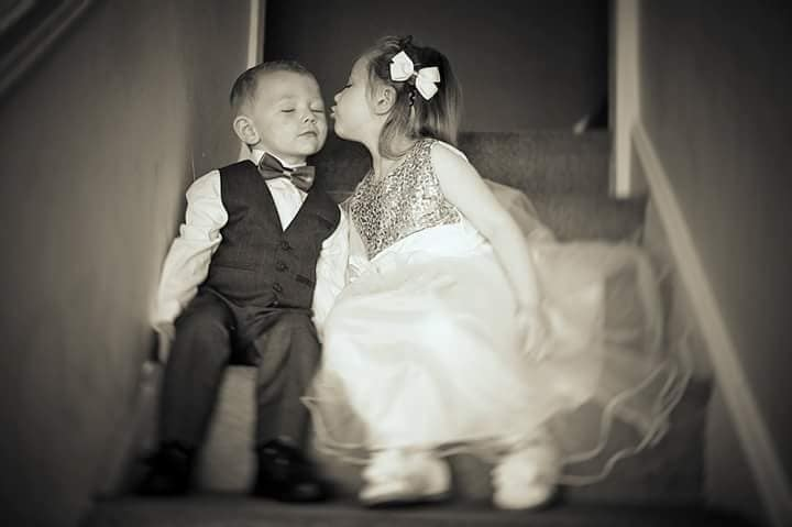 bw kids kissing